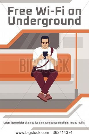 Free Wifi On Underground Poster Template. Commercial Flyer Design With Semi Flat Illustration. Vecto