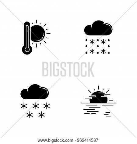 Temperature And Precipitation Forecast Black Glyph Icons Set On White Space. Seasonal Weather Predic