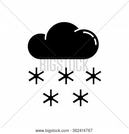 Snow Black Glyph Icon. Meteorological Forecast, Wintertime Weather Forecast Silhouette Symbol On Whi