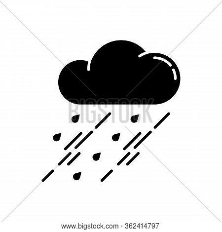 Showers Black Glyph Icon. Rainy Season, Weather Forecasting, Meteorology Silhouette Symbol On White