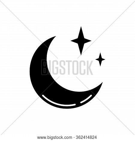 Clear Night Sky Black Glyph Icon. Meteorology, Weather Forecasting Science Silhouette Symbol On Whit