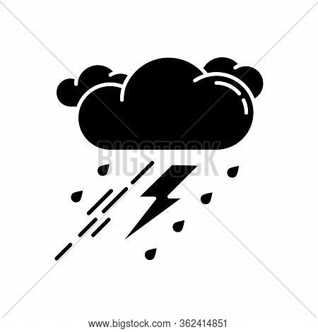 Thunderstorm Black Glyph Icon. Bad Weather, Meteo Forecast Silhouette Symbol On White Space. Strong