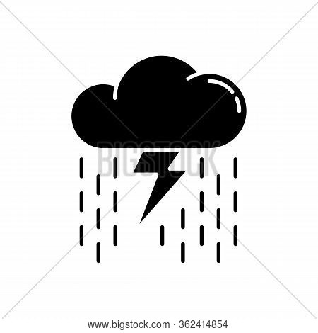 Heavy Showers Black Glyph Icon. Weather Prediction, Meteo Forecast Silhouette Symbol On White Space.