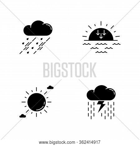 Daytime And Nighttime Forecast Black Glyph Icons Set On White Space. Weather Prediction Science, Met