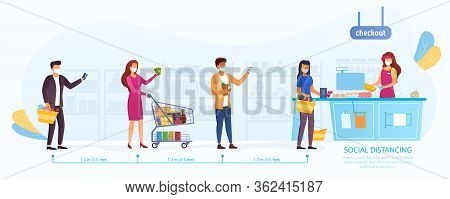 Social Distancing During The Covid-19 Pandemic With A Line Of Shoppers Queuing To Pay At The Till Ma