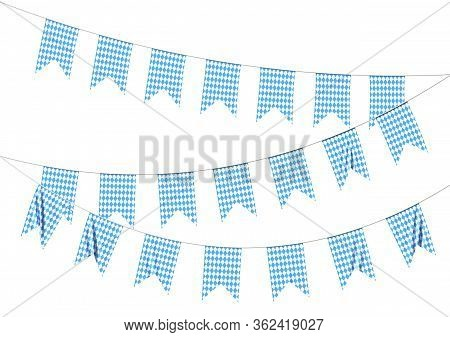 Oktoberfest Party Flags Garlands Buntings Of Bavarian Checkered Blue Flag With Blue-white Checkered