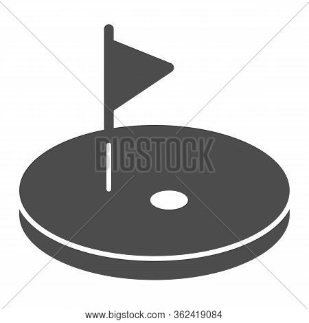 Golf Solid Icon. Golf Course With Flag Illustration Isolated On White. Golfing Logo Glyph Style Desi