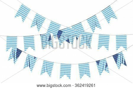 Oktoberfest Party Flags Garland Buntings Of Bavarian Checkered Blue Flag With Blue-white Checkered P