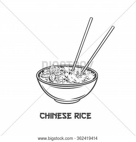 Rice Bowl With Chinese Vertical Chopsticks Outline Icon For Asian Food Menu. Chinese Cuisine Monochr