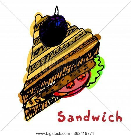 Painted Sandwich With Bread Tomato Cutlet Chop Patty Meatball Rissole Lettuce. Lunch Time. Hand Draw