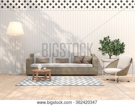 Vintage Terrace 3d Render,there Are Light Wooden Floors, Empty White Plank Walls Decorating Living A