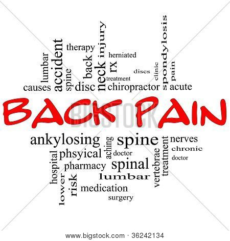 Back Pain Word Cloud Concept In Black & Red