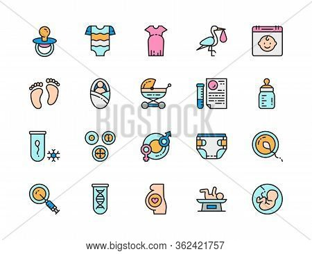 Set Of Pregnancy Flat Color Line Icons. Newborn, Dna Tests, Embryos And More.