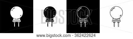 Set Light Emitting Diode Icon Isolated On Black And White Background. Semiconductor Diode Electrical