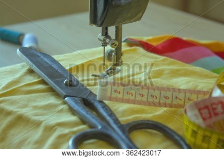 Tools For Sewing For Hobby Set. Furniture And Equipment For Sewing In Designer Sewing Workshop. Tool