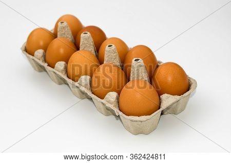 Chicken Eggs In Cardboard Egg Box On White Background. Raw Chicken Eggs In Open Egg Box On A White B