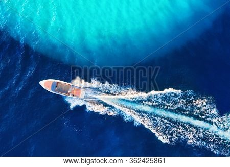 Croatian Seascape With Boat. Yachts At The Sea Surface. Aerial View Of Luxury Floating Boat On Blue