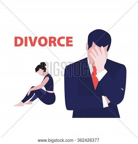 Vector Illustration Of Frustrated Man In Suit And Desperate Woman Sitting On The Floor. Relationship