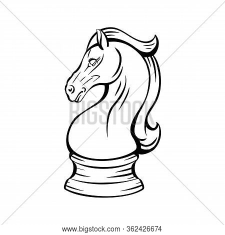 Contour Knight Chess Horse. Proud Mustang Mascot. Symbol Of Smart Play. Contour Object For Logos, Ic