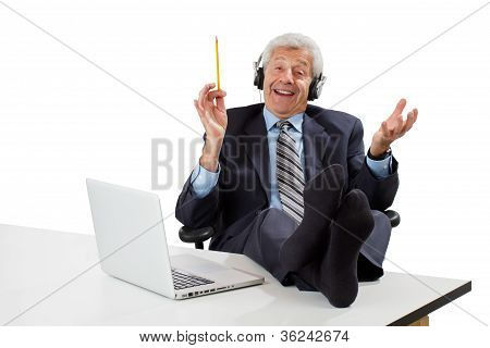 Happy Senior Business Man Takes A Break And Gets Inspired