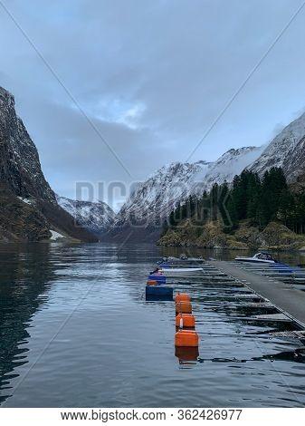 Boats in Naeroyfjord in Gudvangen village, Norway.