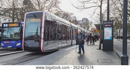Travelers In The Jean Jaures Electric Tram And Bus Station In Tours