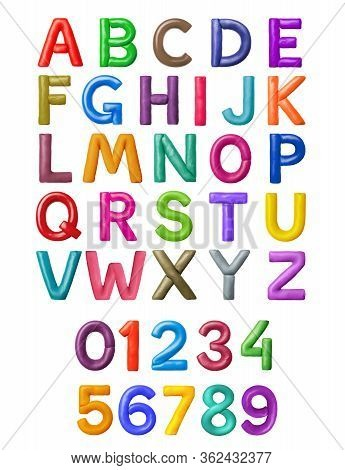 Latin Alphabet And Numbers Made Of Colored Plasticine, Isolated On White Background. 3d Illustration
