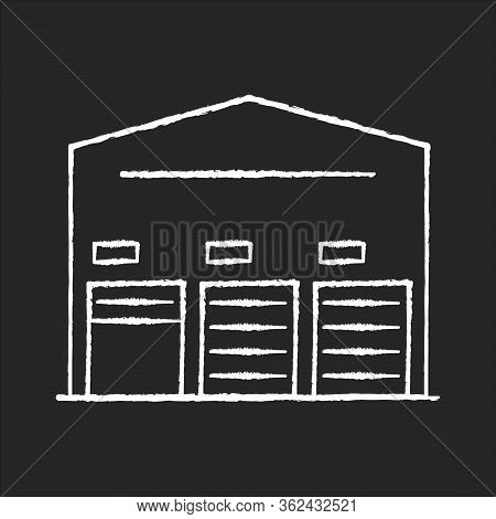 Self Storage Unit Chalk White Icon On Black Background. Industrial Building Entrance. Open And Close