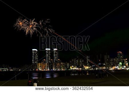 Busan, South Korea - Mar 31, 2019 : Colorful Firework At Gwangalli Beach In Night Time With Full Of