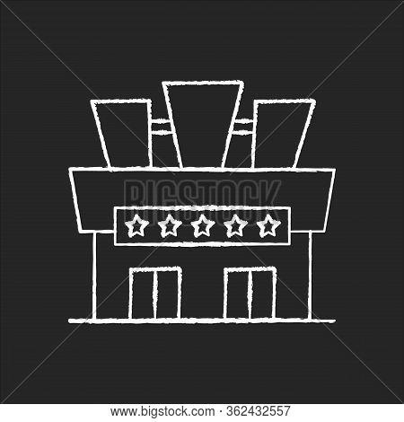 Cinema Chalk White Icon On Black Background. Movie Theater Building Exterior. Entertainment Establis