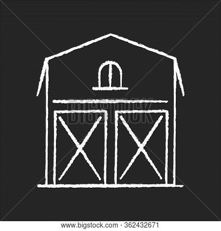 Barn Chalk White Icon On Black Background. Farming Storage Construction. Grain Village Warehouse. Ag