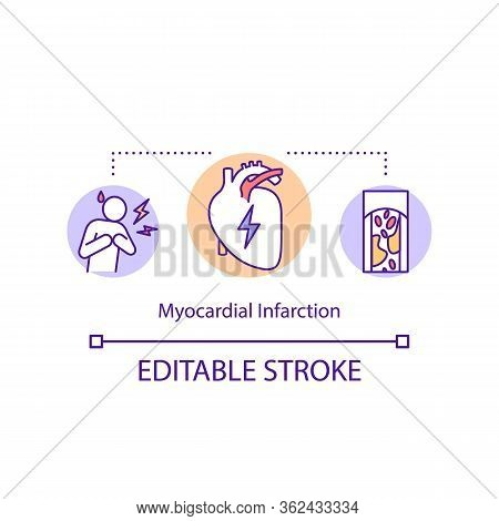 Myocardial Infarction Concept Icon. Cardiovascular Disease Idea Thin Line Illustration. Heart Attack