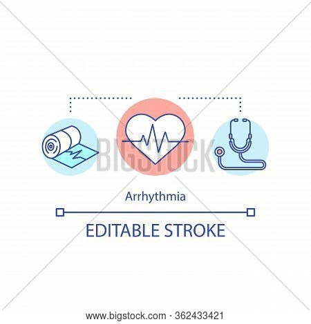 Arrhythmia Concept Icon. Cardiovascular Disease Idea Thin Line Illustration. Cardiac Dysrhythmias. H