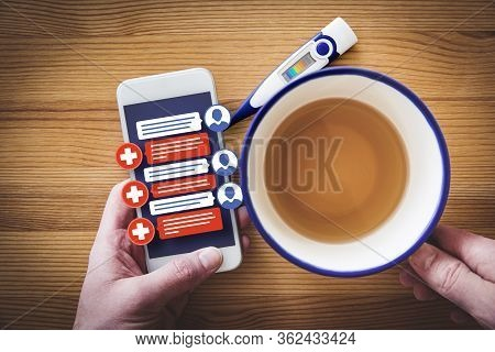 Chat On Smartphone With Doctor Practitioner. Patient With Flu Symptoms Communicate Online With Medic