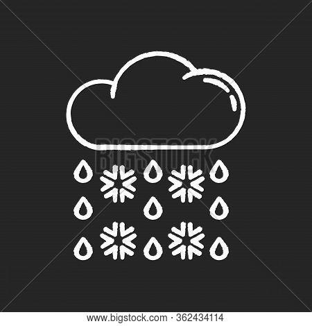 Heavy Snow, Sleet Chalk White Icon On Black Background. Winter Weather Forecast, Meteorology. Atmosp