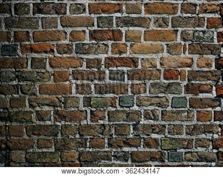 Detail Of A Medieval Castle Brickwall, Dark Hues