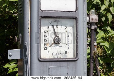 Lauder, Scotland - June 17:  A Close Up Picture Of A Disused Gilbarco Petrol Pump Near Lauder In The