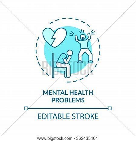 Mental Health Problems Concept Icon. Cvd Causes, Psychological Factors Idea Thin Line Illustration.