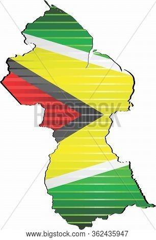 Shiny Grunge Map Of The Guyana - Illustration,  Three Dimensional Map Of Guyana