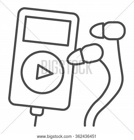 Player And Headphones Thin Line Icon. Small Mp3 Player For Sport Illustration Isolated On White Musi