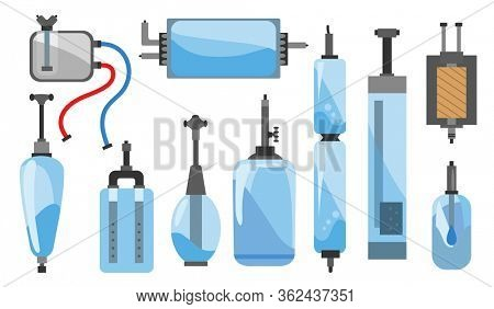 Set of different kinds of water filters and systems  illustrations. Flat icons of water filter. Color and sketch style. Water filters at home component for clean water business and logos