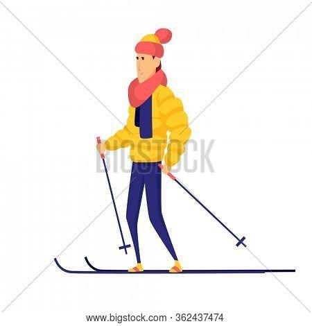 men skier. Male skiing design element isolated on white background. Winter sportsman on ski resort. Winter sport activity. Skier goes skiing