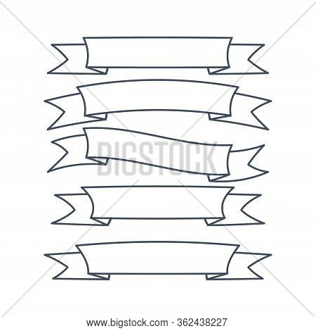 Set Of Ribbon Banner Icon, Arch Ribbon Banner Icon, Ribbon Banner, Outline Style Isolated On The Whi
