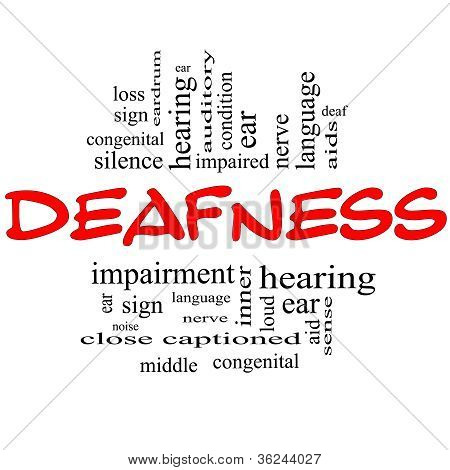 Deafness Word Cloud Concept In Red & Black