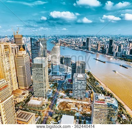 Shanghai, China - May 24, 2015:beautiful View Skyscrapers, Waterfront And City Building Of Pudong, S