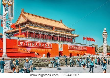 Beijing, China - May 18, 2015: Peoples On Tiananmen Square And Gate Of Heavenly Peace- The Entrance