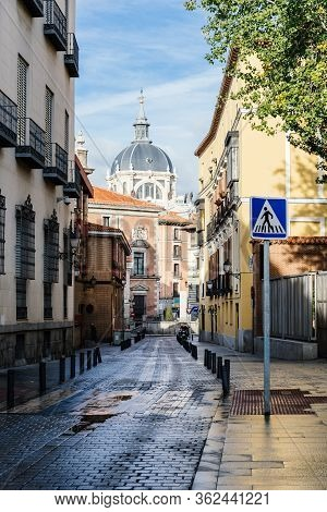 Madrid, Spain - November 1, 2019: View Of Empty Street In Central Madrid. Sacramento Street In Histo