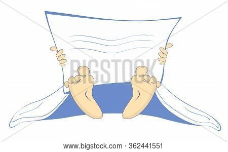 Hand With Newspaper Or Magazine, Blanket And Naked Feet Illustration. Hand With Newspaper Or Magazin