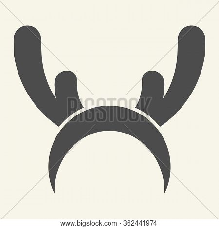 Deer Horns Cloth Solid Icon. Reindeer Mask Glyph Style Pictogram On White Background. Funny Christma