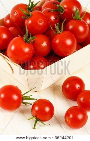 Basket Of Red Cherry Tomatoes